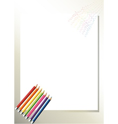 An empty template with colorful pencils at the vector image