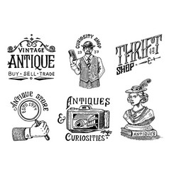antique shop labels or badges vintage woman vector image