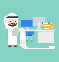arab businessman upset and stress reading long of vector image