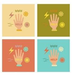 assembly flat icons nature hand disasters vector image