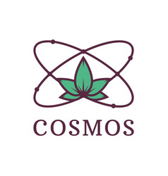 Atom with nature science cosmos environmental vector