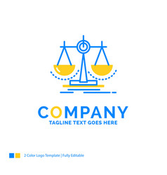 Balance decision justice law scale blue yellow vector