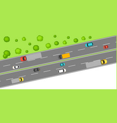 banner with top view of road vector image