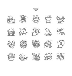 barbecue well-crafted pixel perfect thin vector image