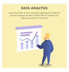 Bearded man look at growing analitics chart graph vector