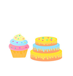 birthday cake cupcake sweet food dessert isolated vector image