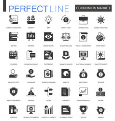 Black classic economics market web icons set vector