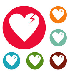 broken heart icons circle set vector image
