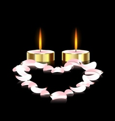 Candles and heart vector