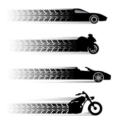 Car and motorbike symbols vector