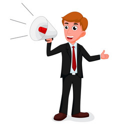Cartoon businessman talking with a megaphone vector