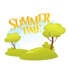 Cartoon Summer Landscape Background Summer tree vector image