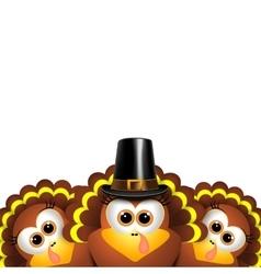 Cartoon turkeys in a pilgrim outfit vector image