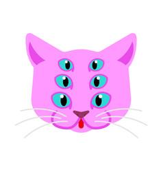 Cat alien monster ufo pet face animal cartoon vector