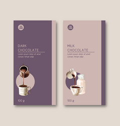 Chocolate packing design with milk and cup vector