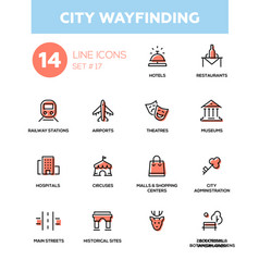 City wayfinding - modern simple icons pictograms vector