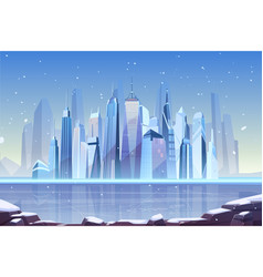 Cold winter in modern metropolis cartoon vector