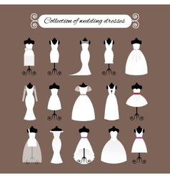 Collection of white wedding dresses vector image
