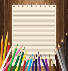 Colorful pencil with yellow paper on lath boards vector image