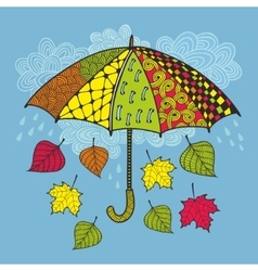 Colorful umbrella and autumn wind vector