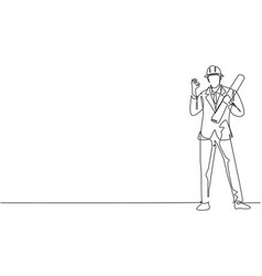 Continuous one line drawing architect stood vector