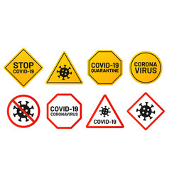 covid-19 signs ban and stop virus yellow banner vector image