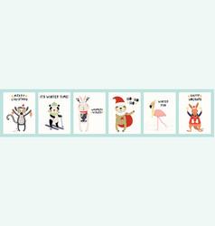Cute animals christmas cards set vector