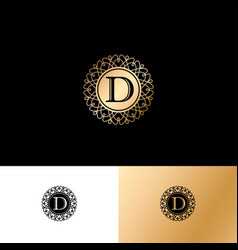 d gold letter monogram gold circle lace ornament vector image