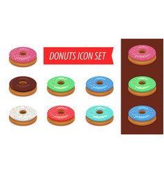 donut icon set isolated on white background vector image