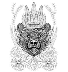 Entangle stylized bear with war bonnet on flowers vector