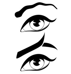 Eye with modern eyebrows vector