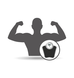 Fitness silhouette weigh scale gym graphic vector