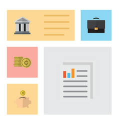 Flat icon gain set of cash bank document and vector