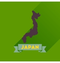 Flat icon with long shadow map of japan vector