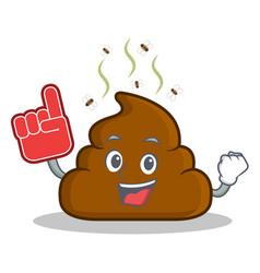Foam finger poop emoticon character cartoon vector