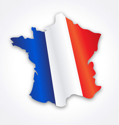 france map simplified with french flag vector image