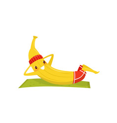 Funny banana working out on an exercise mat vector
