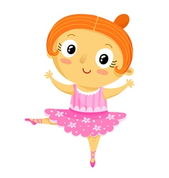 Girl ballerina cartoon character isolated on white vector image