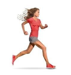 Girl running marathon designed using line vector