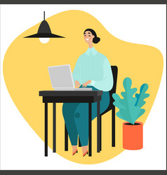 Girl works at laptop working online vector