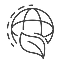 global leaf icon outline style vector image