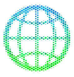halftone blue-green globe icon vector image