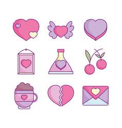happy valentines day love romantic feeling icons vector image