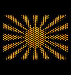 Hexagon halftone japanese rising sun icon vector