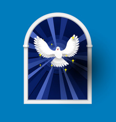 Holy spirit come above the window white dove vector