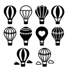 Hot air balloon and clouds icons set vector image vector image