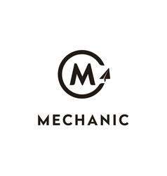 initial m machine mechanic plane aircraft logo vector image