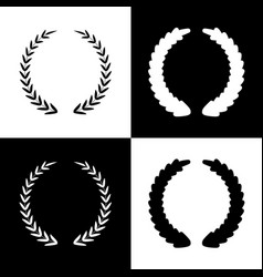 Laurel wreath sign black and white icons vector
