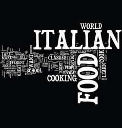 Learn to make italian food text background word vector