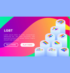 lgbt concept with isometric thin line icons vector image